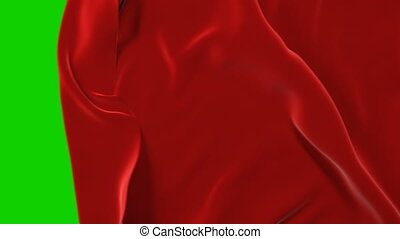 Red Cloth Moving Away Waving and Opening Background. Abstract Fabric Transition 3d Animation with Alpha Mask Green Screen. 4k Ultra HD