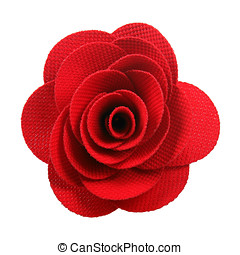red cloth rose isolated on white background
