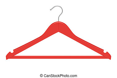 Red clothe hanger isolated on white background