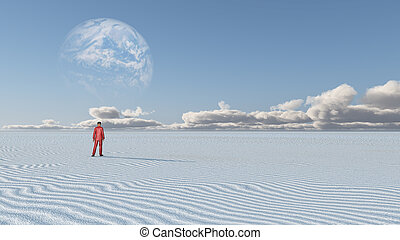 Red Clothed Figure Stands in Empty Desolate Desert