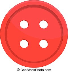 Red clothes button icon, cartoon style