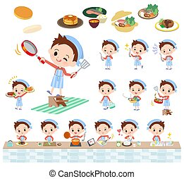 Red clothing boy_cooking - A set of boy about cooking.There...