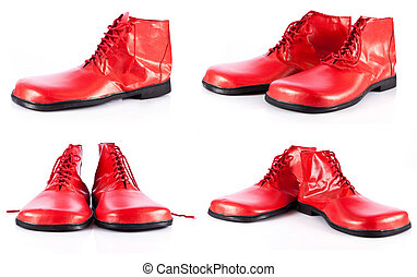 red clown shoes on a white background