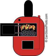Red coal boiler on white background