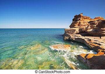 Red coastal cliffs at Gantheaume Point, Broome, Western Australia