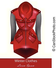 Red coat Vector. Winter Fashion design clothings