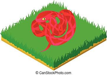 Red cobra icon, isometric style