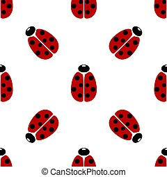 Red coccinellidae icon isolated seamless pattern on white background. Vector