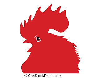 red cock silhouette on white background, vector illustration