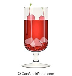 Red cocktail with a cherry