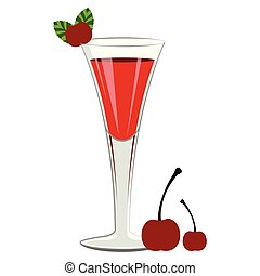 Red cocktail with cherries