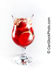 Red cocktail with fruits