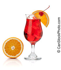 Red cocktail with orange and maraschino