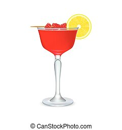 Red cocktail with slice of lemon