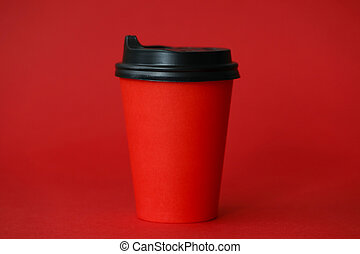 Red coffee cup abstract food background