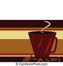 Red Coffee cup and coffee beans