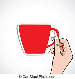 red coffee cup in hand