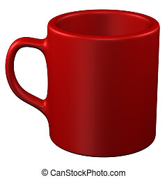 Red coffee cup, isolated on white background.