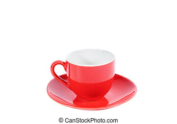 Red coffee cup isolated on white background, clipping path included.