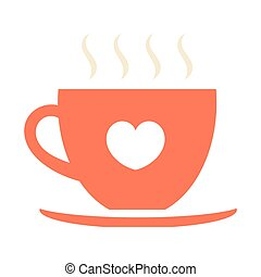 Red coffee cup with heart