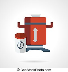 Red coffee grinder flat vector icon