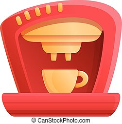 Red coffee machine icon, cartoon style