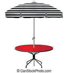 Red coffee table with an umbrella in the black strip. Vector...