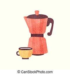 Red coffeepot and cup of fresh coffee with texture. Hot...