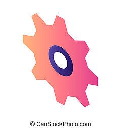 Red cogwheel icon, isometric style