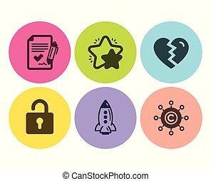 red, cohete, iconos, estrella, set., arriba, cerradura, acuerdo, interrupción, vector, copywriting, aprobado, signs.
