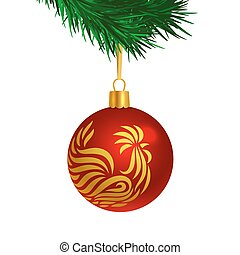 Red color Christmas tree ball with rooster logo