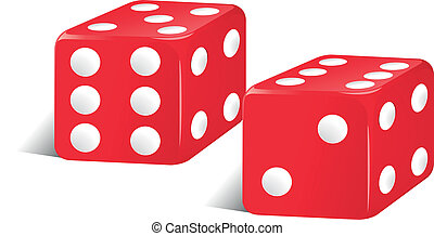 Red color dices - Illustration of red color dices on a white...