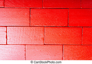 Red color domino blocks on white background