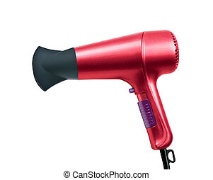 red color hair dryer isolated on white background