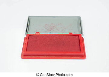 red color inkpad on isolated white background.