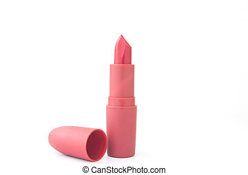 Red color lipstick on white background