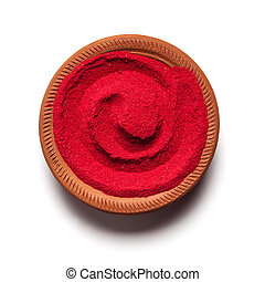 Red color made of soil in clay pot.
