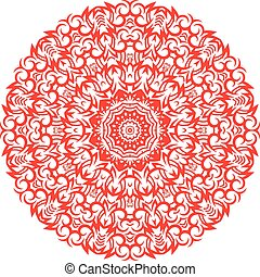 Red Color Mandala on white isolated background.
