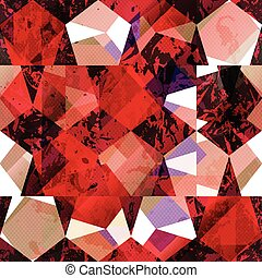 Red color mosaic seamless pattern