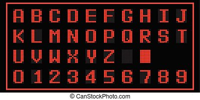 Red color of LED digital font on black background (Vector)
