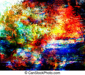 Red Color painting, Abstract background and spots.