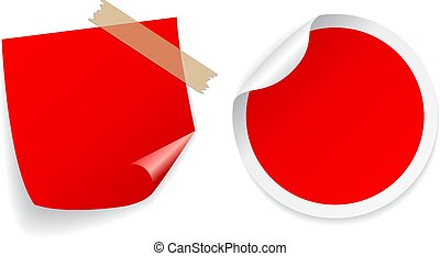 Red color square and round sticker