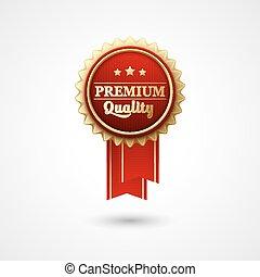 Red Color vector award badge and ribbon.