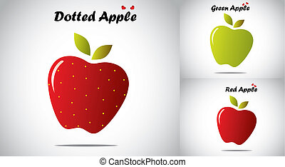 red color yellow dotted organic apple with green and red apples. concept illustration of different realistic colorful apples with green leaves collection with bright white background