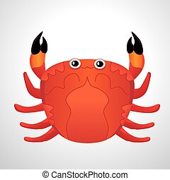 red colored crab with patch of reflected light abstract