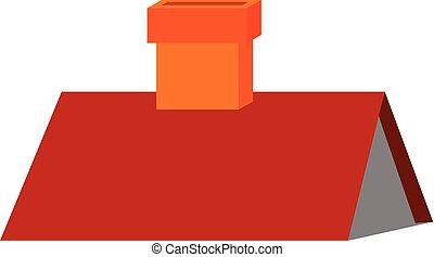 red-colored, vetorial, clipart, chaminé, triangular, telhado...