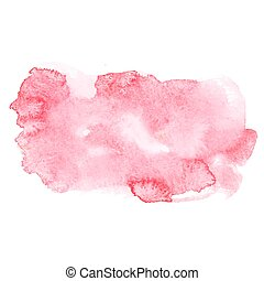 Red colorful abstract hand draw watercolour aquarelle art paint splatter stain on white background Vector illustration