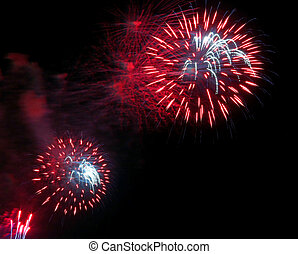 red colorful fireworks in the dark night