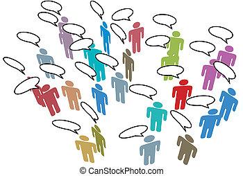 red, colorido, gente, medios, discurso, social, reunión