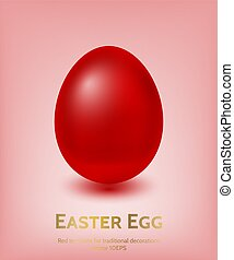 Red Coloured Easter Egg Template